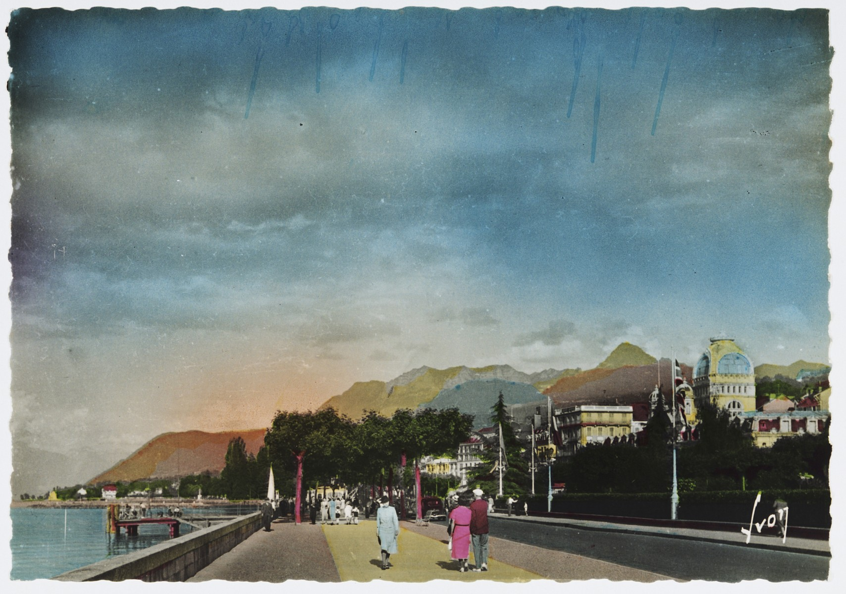 Period postcard of Evian-les-Bains, the site of the 1938 International Conference on Refugees.