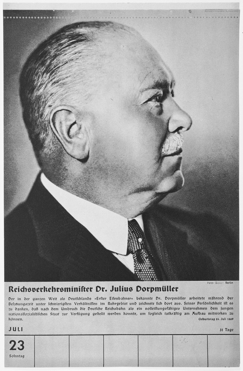 Portrait of Reichsverkehrsminister Julius Dorpmueller.  One of a collection of portraits included in a 1939 calendar of Nazi officials.