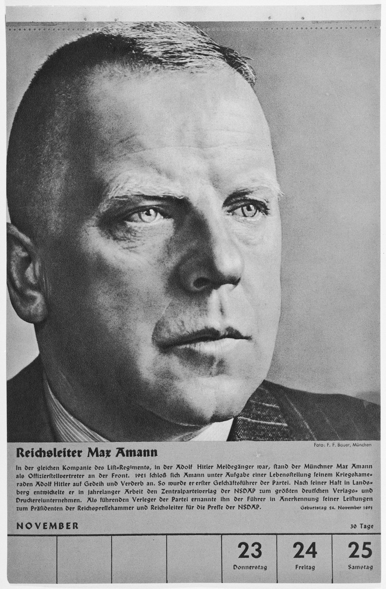 Portrait of Reichsleiter Max Amann.  One of a collection of portraits included in a 1939 calendar of Nazi officials.
