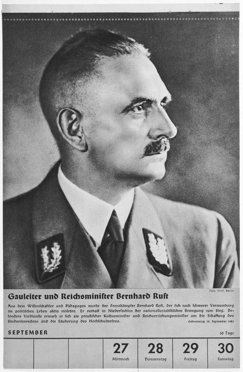 Portrait of Gauleiter and Reichsminister Bernhard Rust.  One of a collection of portraits included in a 1939 calendar of Nazi officials.