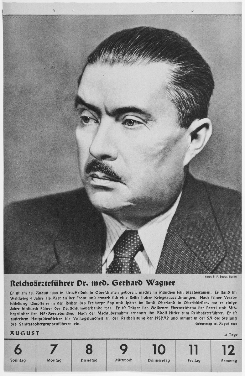 Portrait of Reichsaertzefuehrer Gerhard Wagner.  One of a collection of portraits included in a 1939 calendar of Nazi officials.