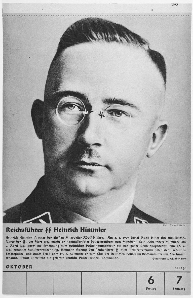Portrait of Reichsfuehrer Heinrich Himmler.  One of a collection of portraits included in a 1939 calendar of Nazi officials.