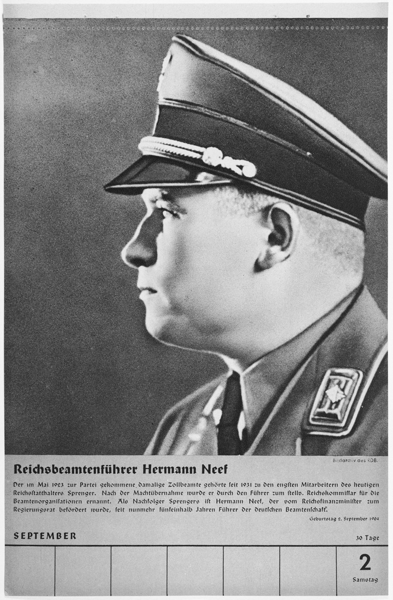 Portrait of Reichsbeamtenfuehrer Hermann Neef.  One of a collection of portraits included in a 1939 calendar of Nazi officials.