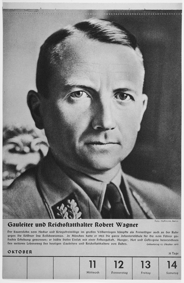 Portrait of Gauleiter and Reischsstaathalter Robert Wagner.  One of a collection of portraits included in a 1939 calendar of Nazi officials.