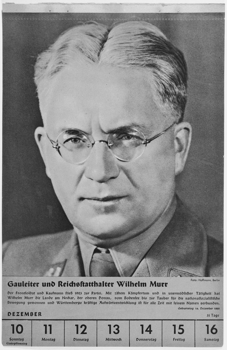Portrait of Gauleiter and Reichsstatthalter Wilhelm Murr.  One of a collection of portraits included in a 1939 calendar of Nazi officials.