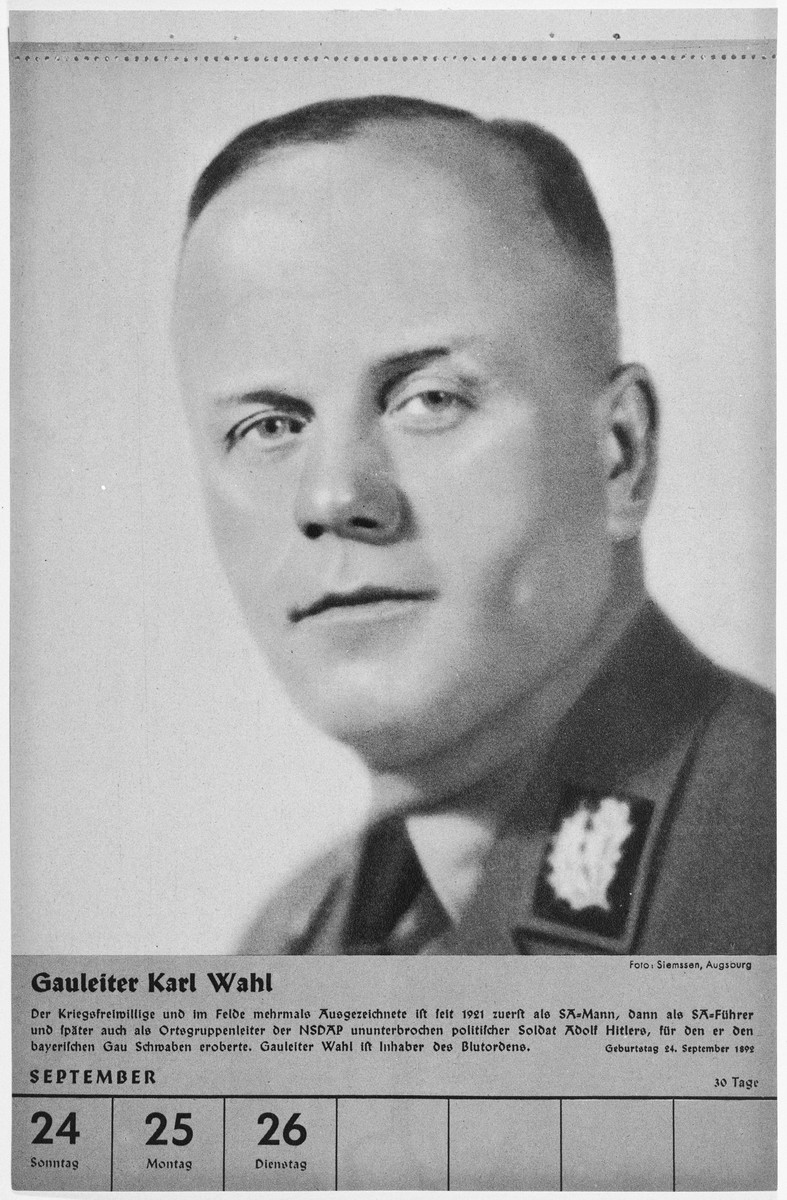 Portrait of Gauleiter Karl Wahl.  One of a collection of portraits included in a 1939 calendar of Nazi officials.