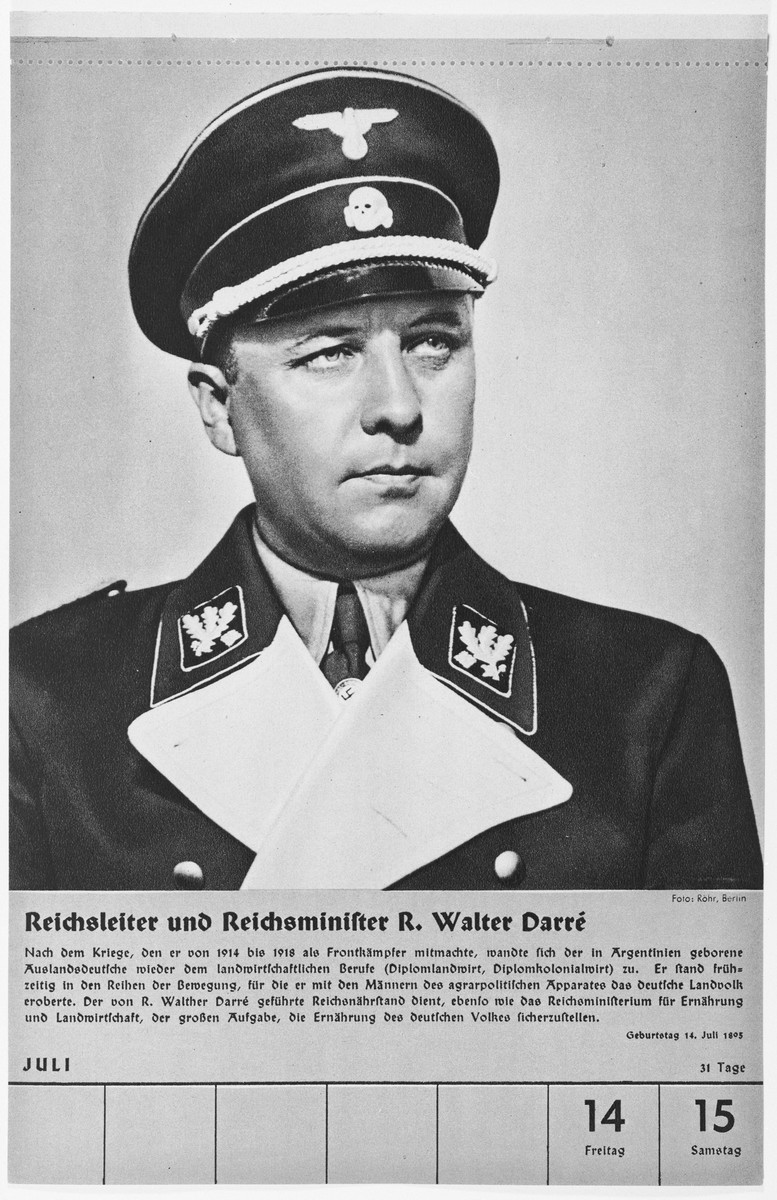 Portrait of Reichsleiter Reichsminister Richard Walter Darre.  One of a collection of portraits included in a 1939 calendar of Nazi officials.