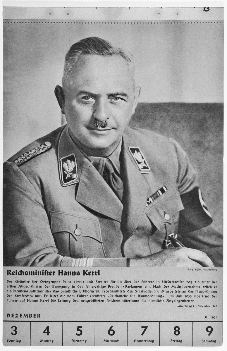 Portrait of Reichsminister Hanns Kerrl.  One of a collection of portraits included in a 1939 calendar of Nazi officials.