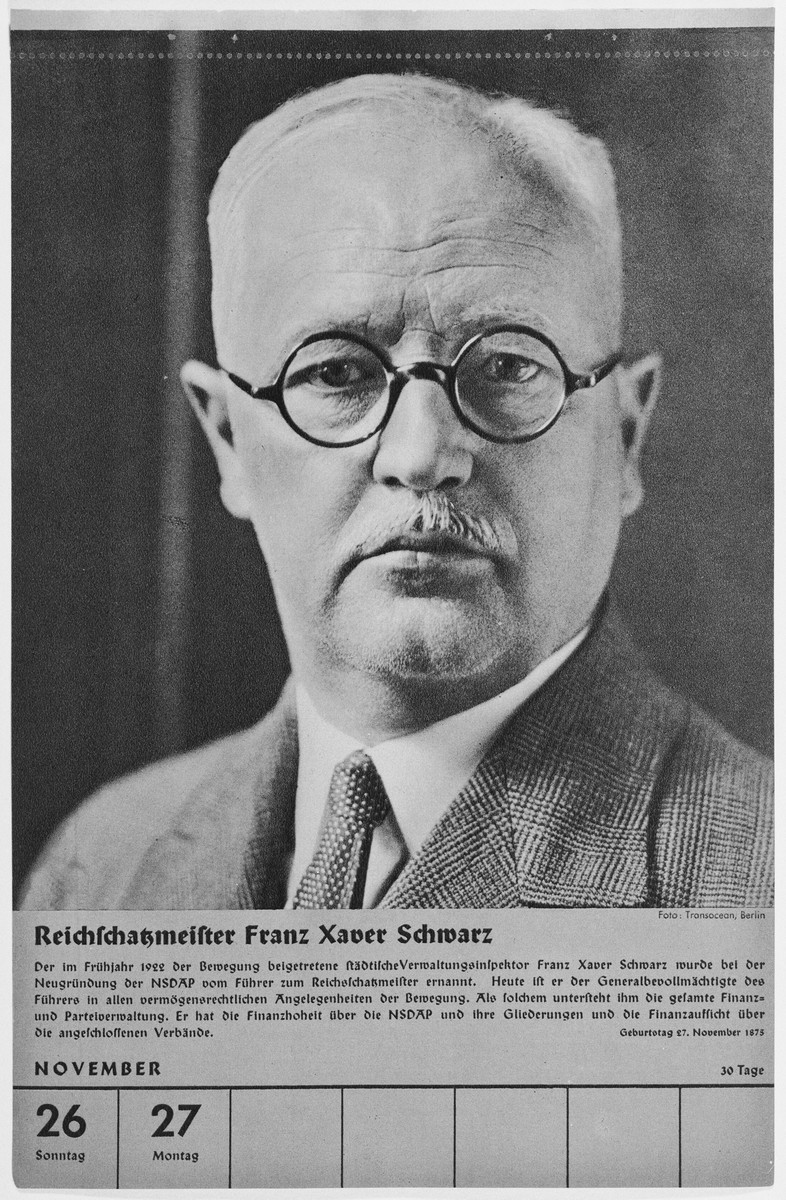 Portrait of Reichschatzmeister Franz Xaver Schwarz.  One of a collection of portraits included in a 1939 calendar of Nazi officials.