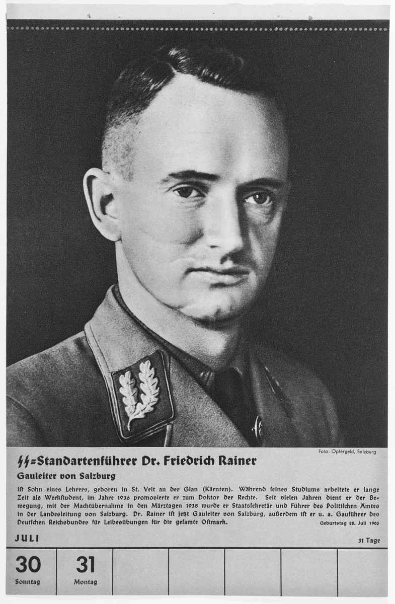 Portrait of Standartenfuehrer Friedrich Rainer.  One of a collection of portraits included in a 1939 calendar of Nazi officials.