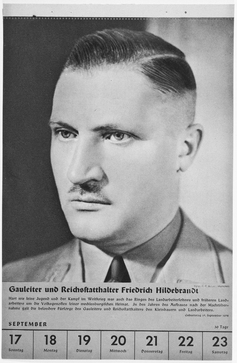 Portrait of Gauleiter und Reichsstatthalter Friedrich Hildebrandt.  One of a collection of portraits included in a 1939 calendar of Nazi officials.