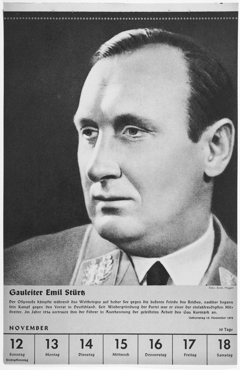 Portrait of Gauleiter Emil Stuertz.  One of a collection of portraits included in a 1939 calendar of Nazi officials.