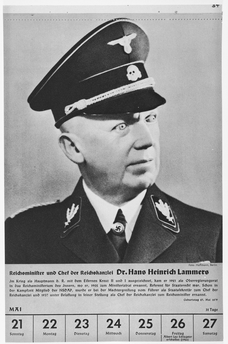 Portrait of Reichsminister Hans Heinrich Lammers.  One of a collection of portraits included in a 1939 calendar of Nazi officials.
