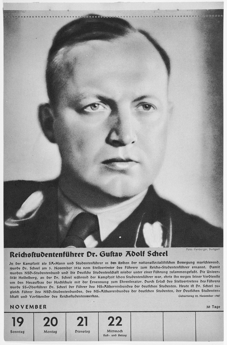 Portrait of Reichsstudentenfuehrer Gustav Adolf Scheel.  One of a collection of portraits included in a 1939 calendar of Nazi officials.