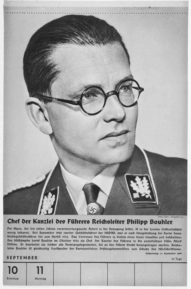 Portrait of Chef der Kanzlei des Fuehrers Reichsleiter Philipp Bouhler.  One of a collection of portraits included in a 1939 calendar of Nazi officials.