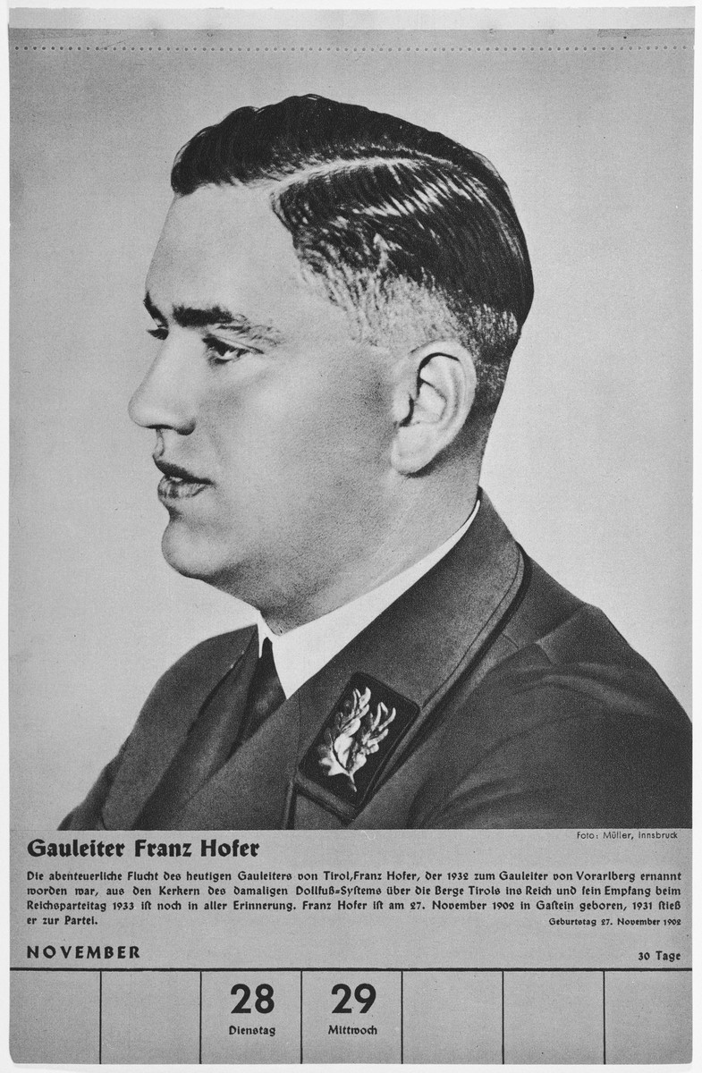 Portrait of Gauleiter Franz Hofer.  One of a collection of portraits included in a 1939 calendar of Nazi officials.