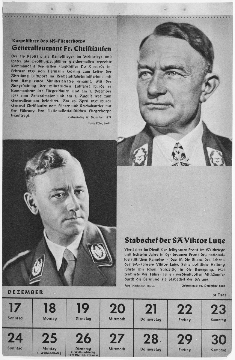 Portrait of Generalleutnant Friedrich Christiansen and Stabschef der SA Victor Lutze.  One of a collection of portraits included in a 1939 calendar of Nazi officials.