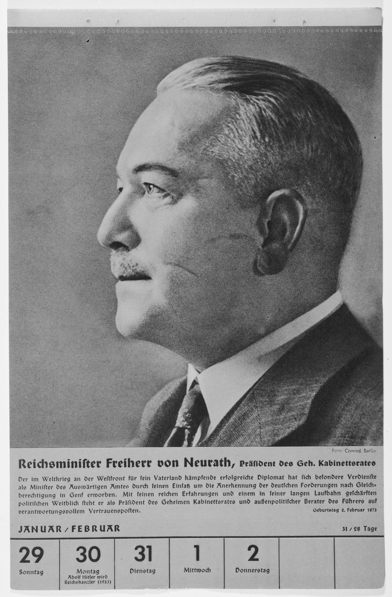 Portrait of Reichsminister Constantin Freiherr von Neurath.  One of a collection of portraits included in a 1939 calendar of Nazi officials.
