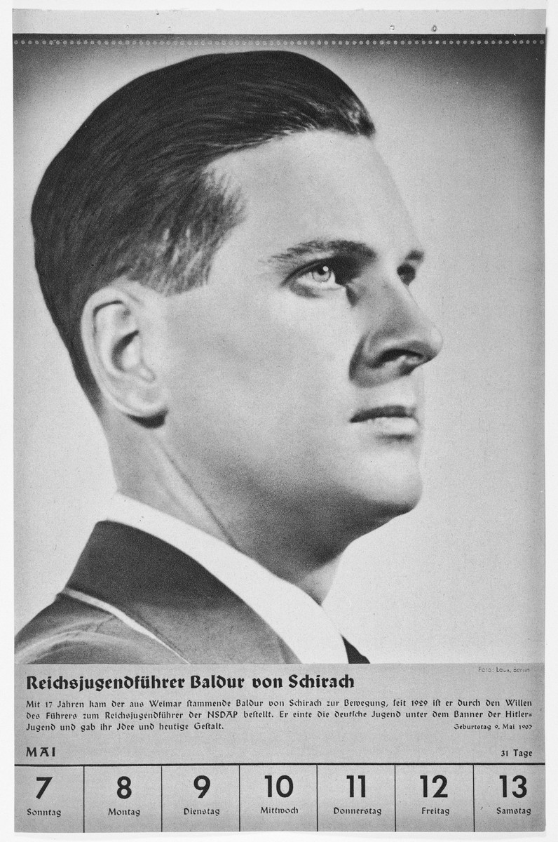 Portrait of Reichsjugendfuehrer Baldur von Schirach.  One of a collection of portraits included in a 1939 calendar of Nazi officials.