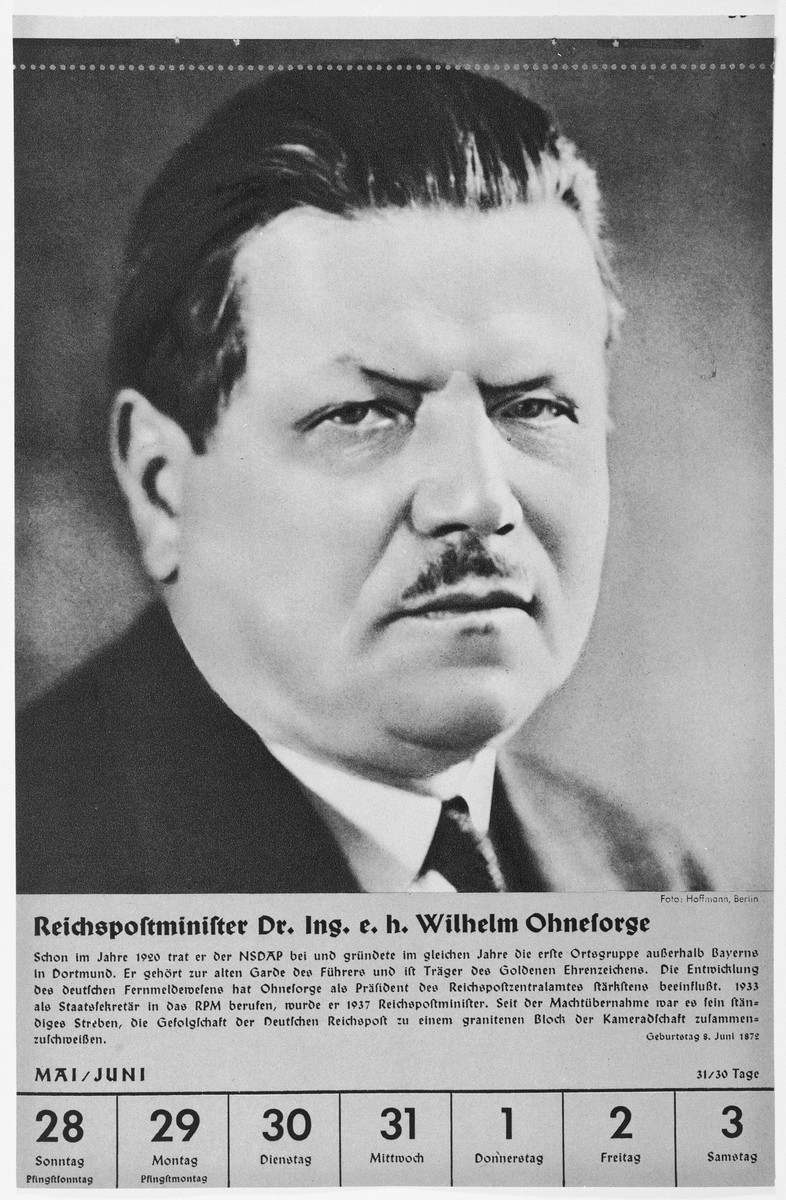Portrait of Reichspostminister Wilhelm Ohnesorge.  One of a collection of portraits included in a 1939 calendar of Nazi officials.