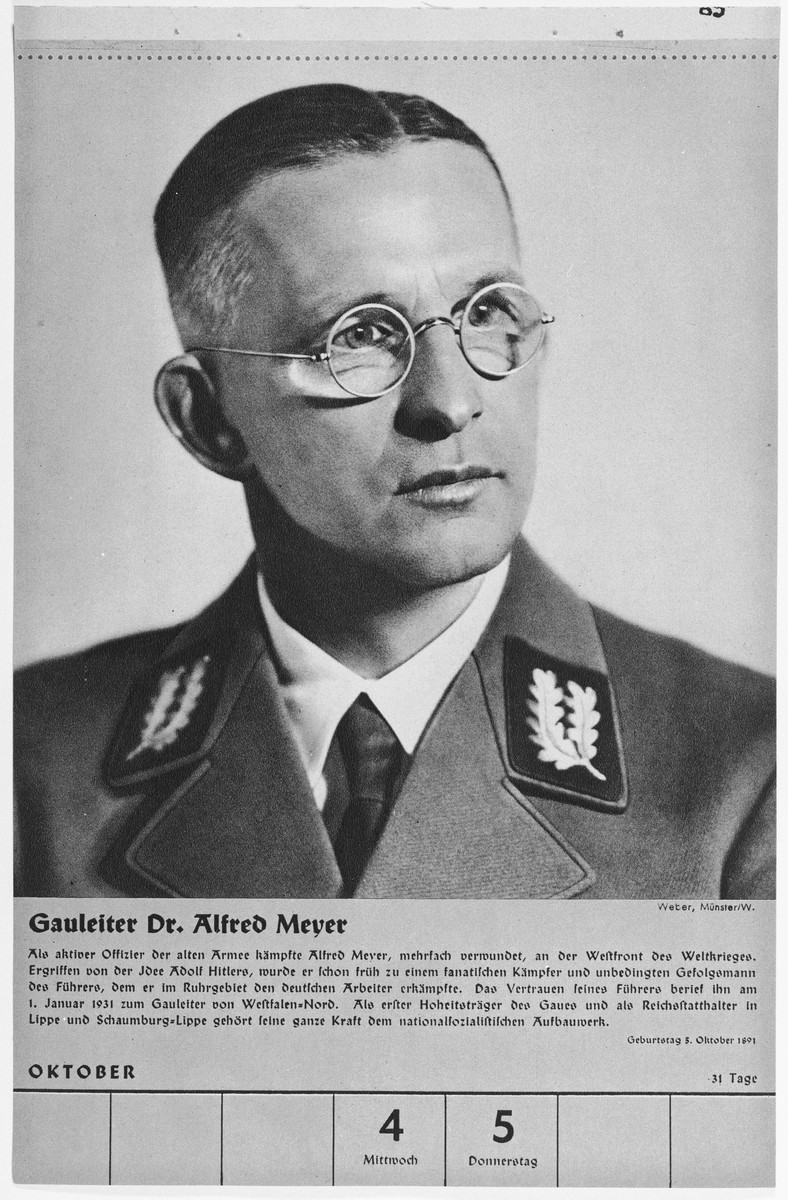 Portrait of Gauleiter Alfred Meyer.  One of a collection of portraits included in a 1939 calendar of Nazi officials.