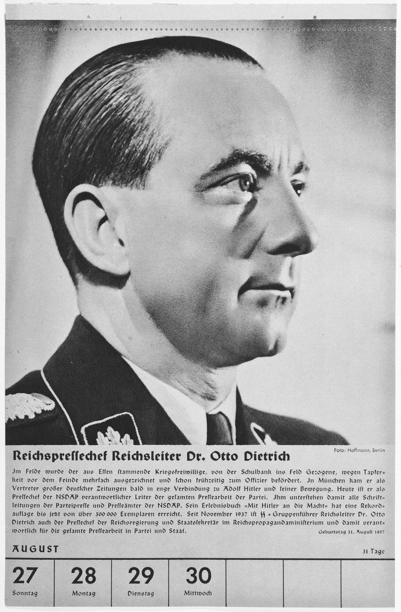 Portrait of Reichsleiter Otto Dietrich.  One of a collection of portraits included in a 1939 calendar of Nazi officials.