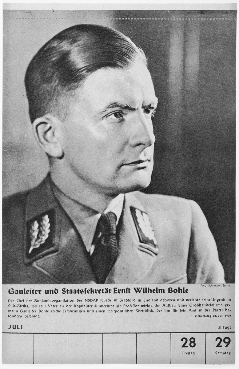 Portrait of Gauleiter and Staatssekretaer Ernst Wilhelm Bohle.  One of a collection of portraits included in a 1939 calendar of Nazi officials.