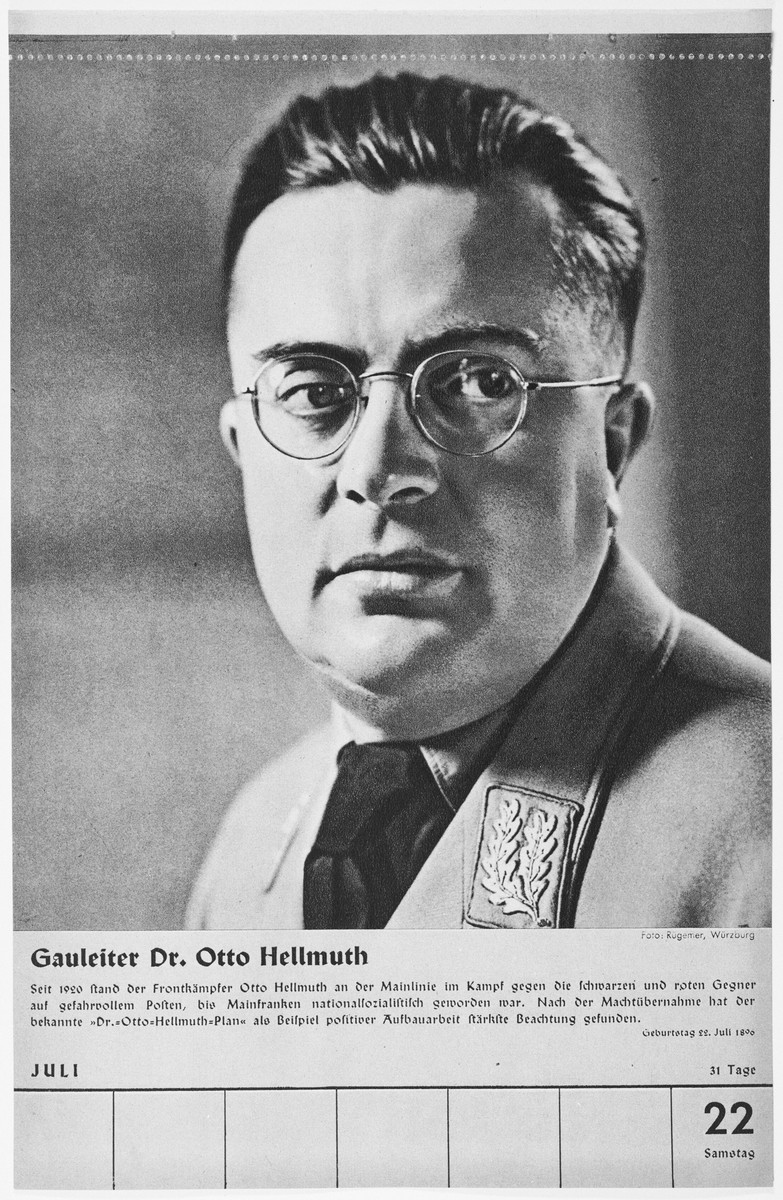 Portrait of Gauleiter Otto Hellmuth.  One of a collection of portraits included in a 1939 calendar of Nazi officials.
