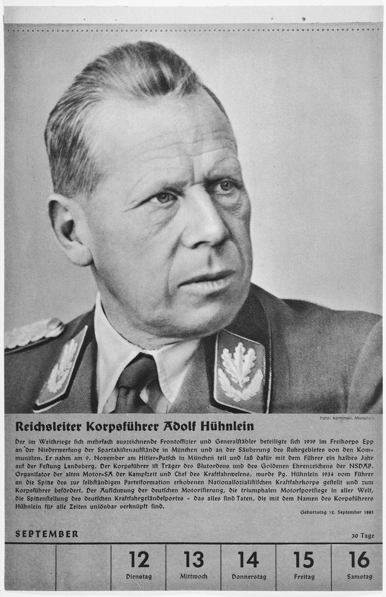 Portrait of Reichsleiter Korpsfuehrer Adolf Huehnlein.  One of a collection of portraits included in a 1939 calendar of Nazi officials.