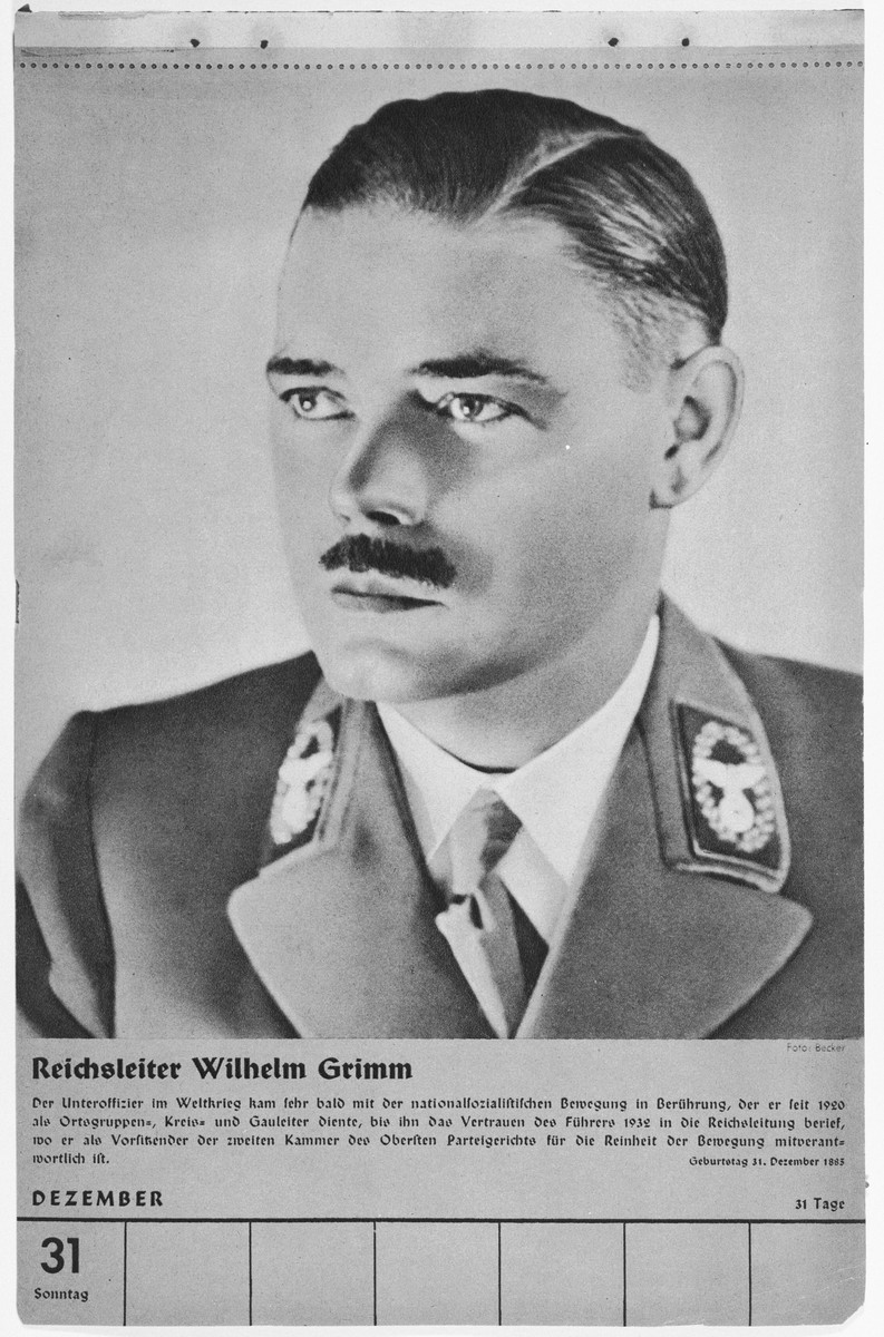 Portrait of Reichsleiter Wilhelm Grimm.  One of a collection of portraits included in a 1939 calendar of Nazi officials.