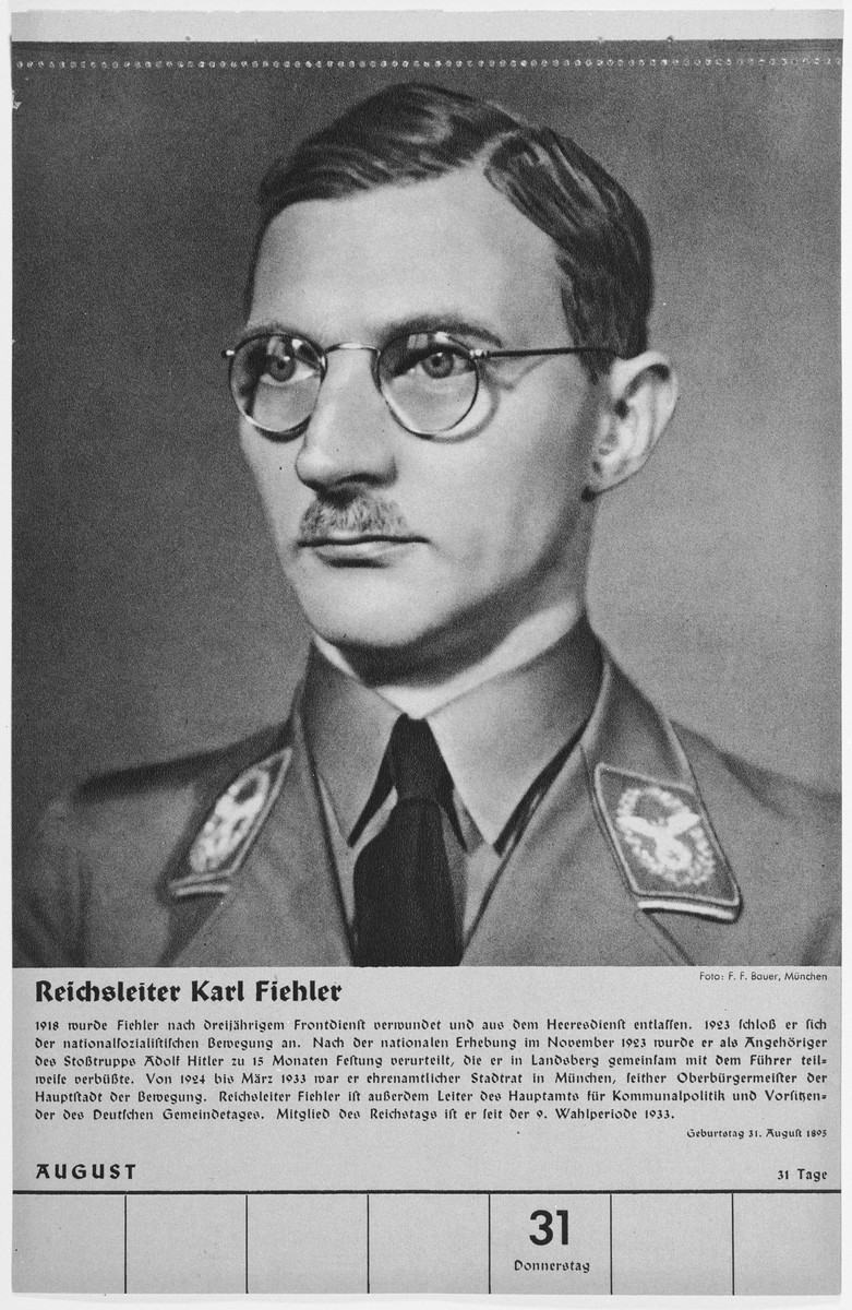 Portrait of Reichsleiter Karl Fiehler.  One of a collection of portraits included in a 1939 calendar of Nazi officials.