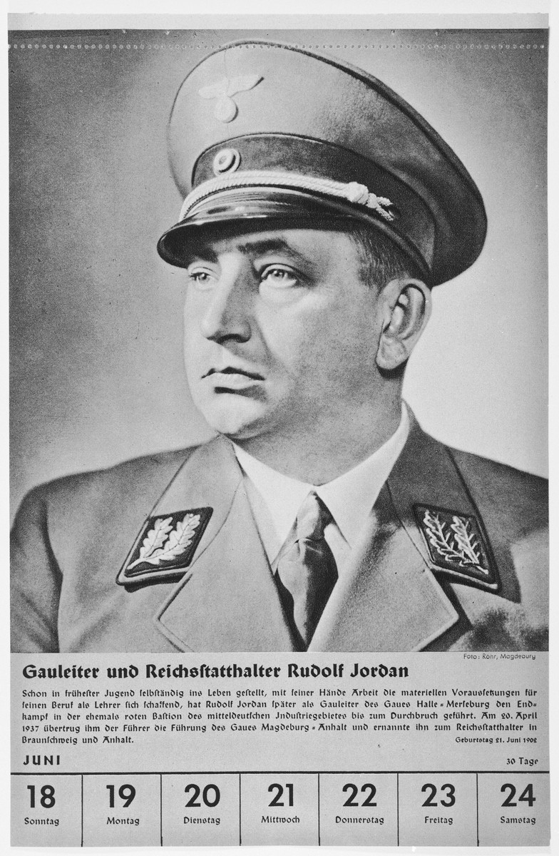Portrait of Gauleiter Rudolf Jordan.  One of a collection of portraits included in a 1939 calendar of Nazi officials.