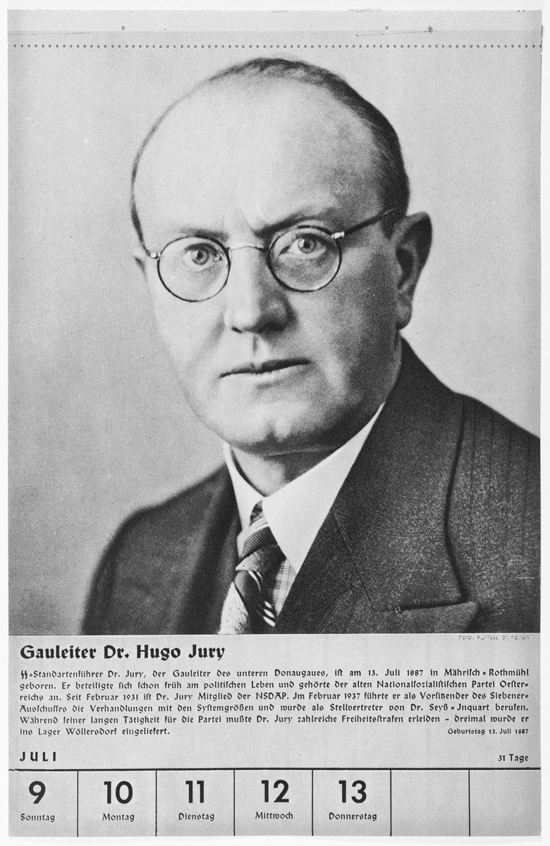 Portrait of Gauleiter Hugo Jury  One of a collection of portraits included in a 1939 calendar of Nazi officials.