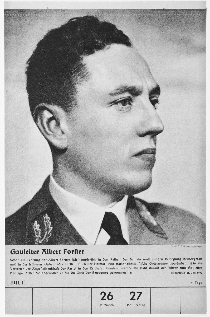 Portrait of Gauleiter Albert Forster.  One of a collection of portraits included in a 1939 calendar of Nazi officials.