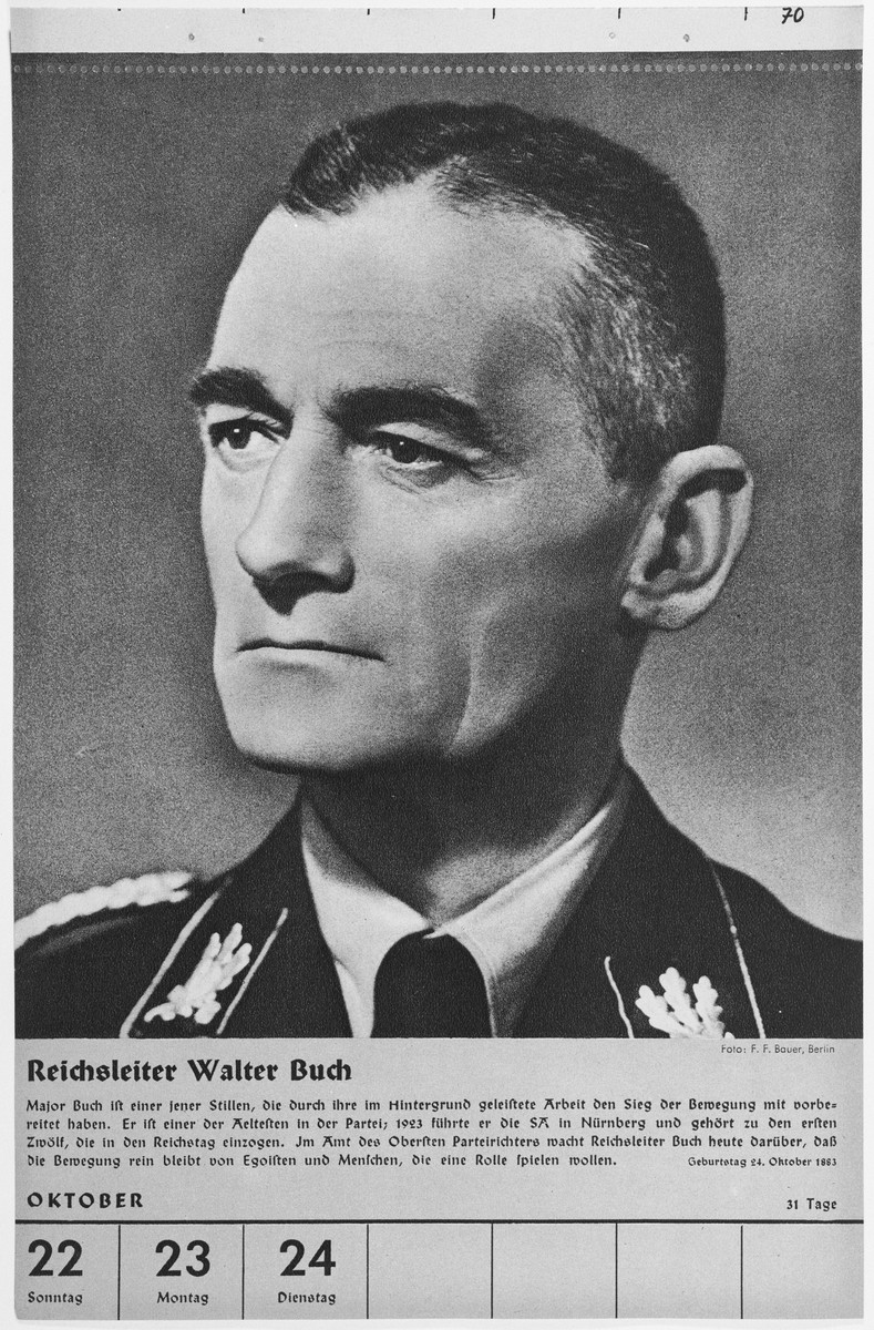 Portrait of Reichsleiter Walter Buch.  One of a collection of portraits included in a 1939 calendar of Nazi officials.