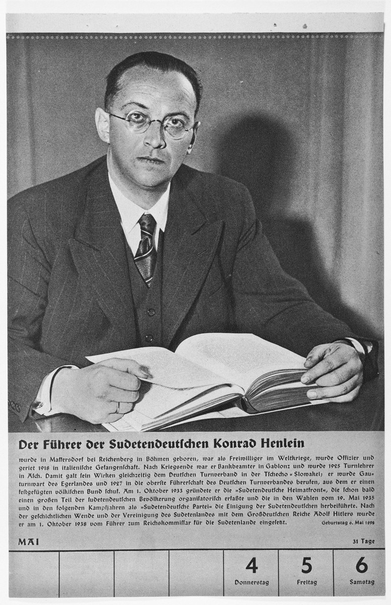 Portrait of der Fuehrer der Sudetendeutschen Konrad Henlein.  One of a collection of portraits included in a 1939 calendar of Nazi officials.