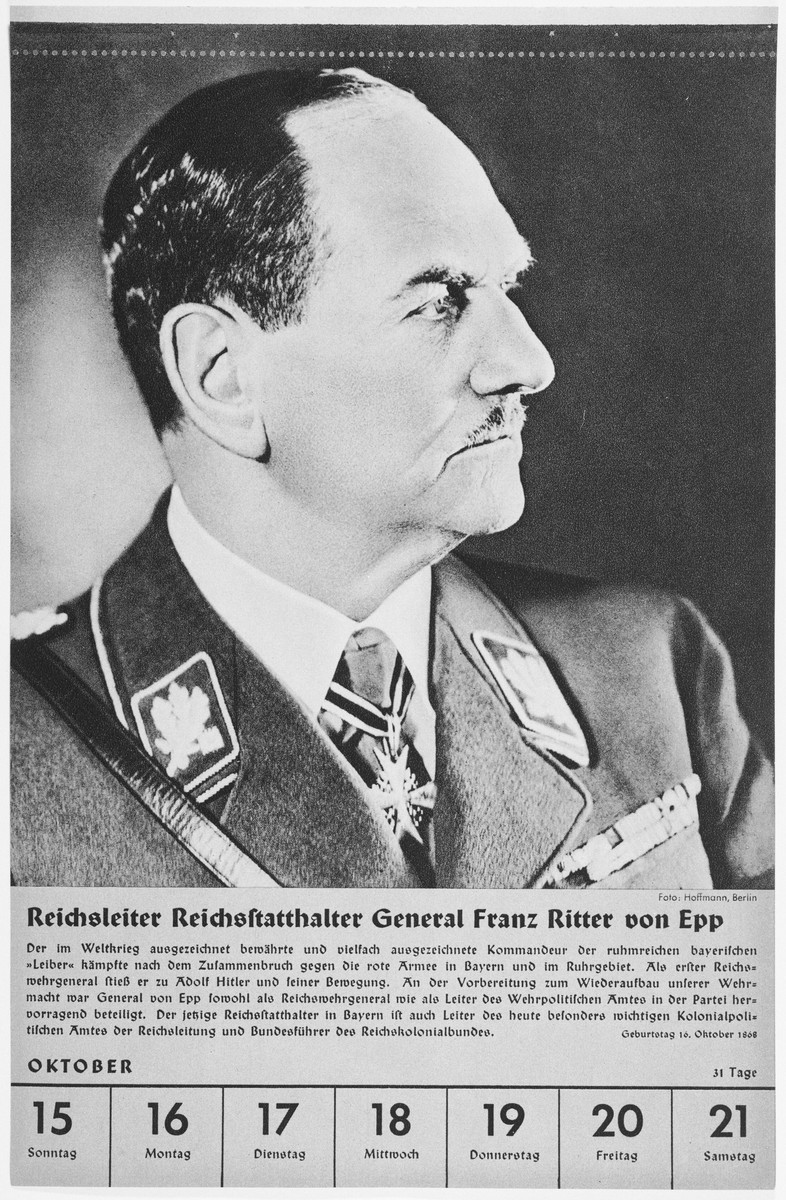 Portrait of Reichsleiter and Reischsstaathalter General Franz Ritter von Epp.  One of a collection of portraits included in a 1939 calendar of Nazi officials.