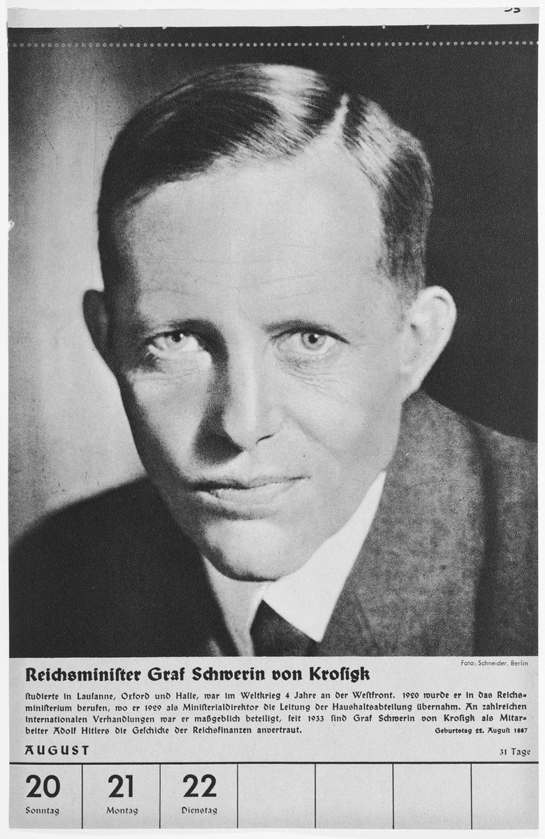 Portrait of Reichsminister Graf Schwerin von Krosigk.  One of a collection of portraits included in a 1939 calendar of Nazi officials.
