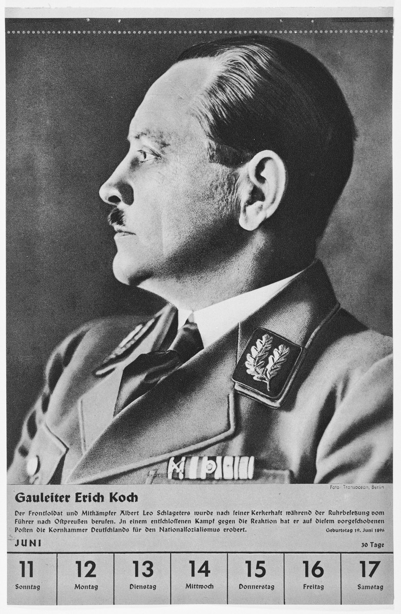 Portrait of Gauleiter Erich Koch.  One of a collection of portraits included in a 1939 calendar of Nazi officials.