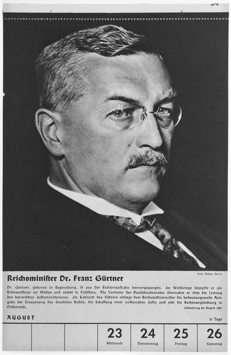 Portrait of Reichsminister Franz Guertner.  One of a collection of portraits included in a 1939 calendar of Nazi officials.