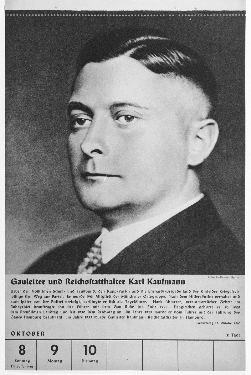 Portrait of Gauleiter and Reischsstaathalter Karl Kaufmann.  One of a collection of portraits included in a 1939 calendar of Nazi officials.