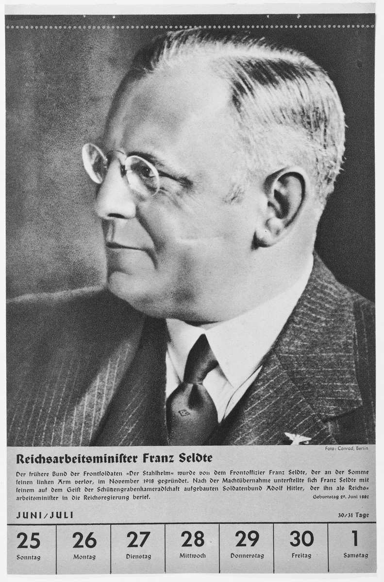 Portrait of Reichsarbeitsminister Franz Seldte.  One of a collection of portraits included in a 1939 calendar of Nazi officials.