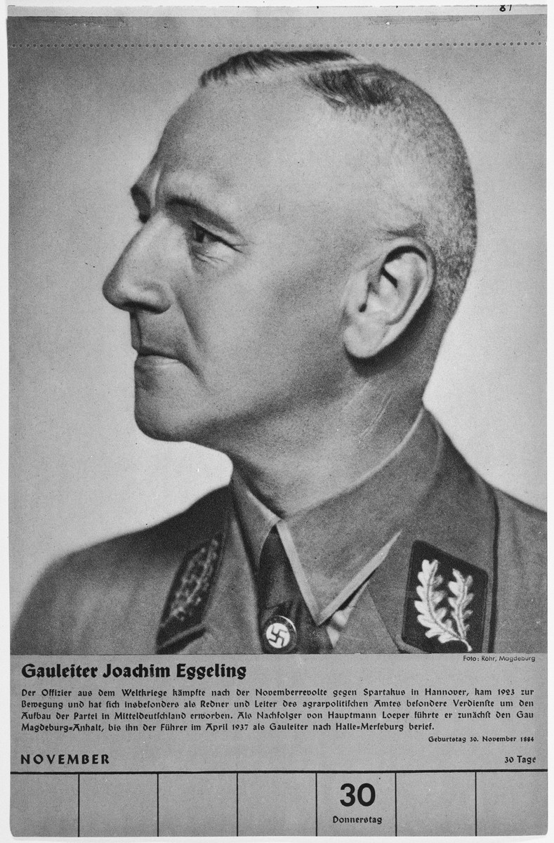 Portrait of Gauleiter Joachim Eggeling.  One of a collection of portraits included in a 1939 calendar of Nazi officials.