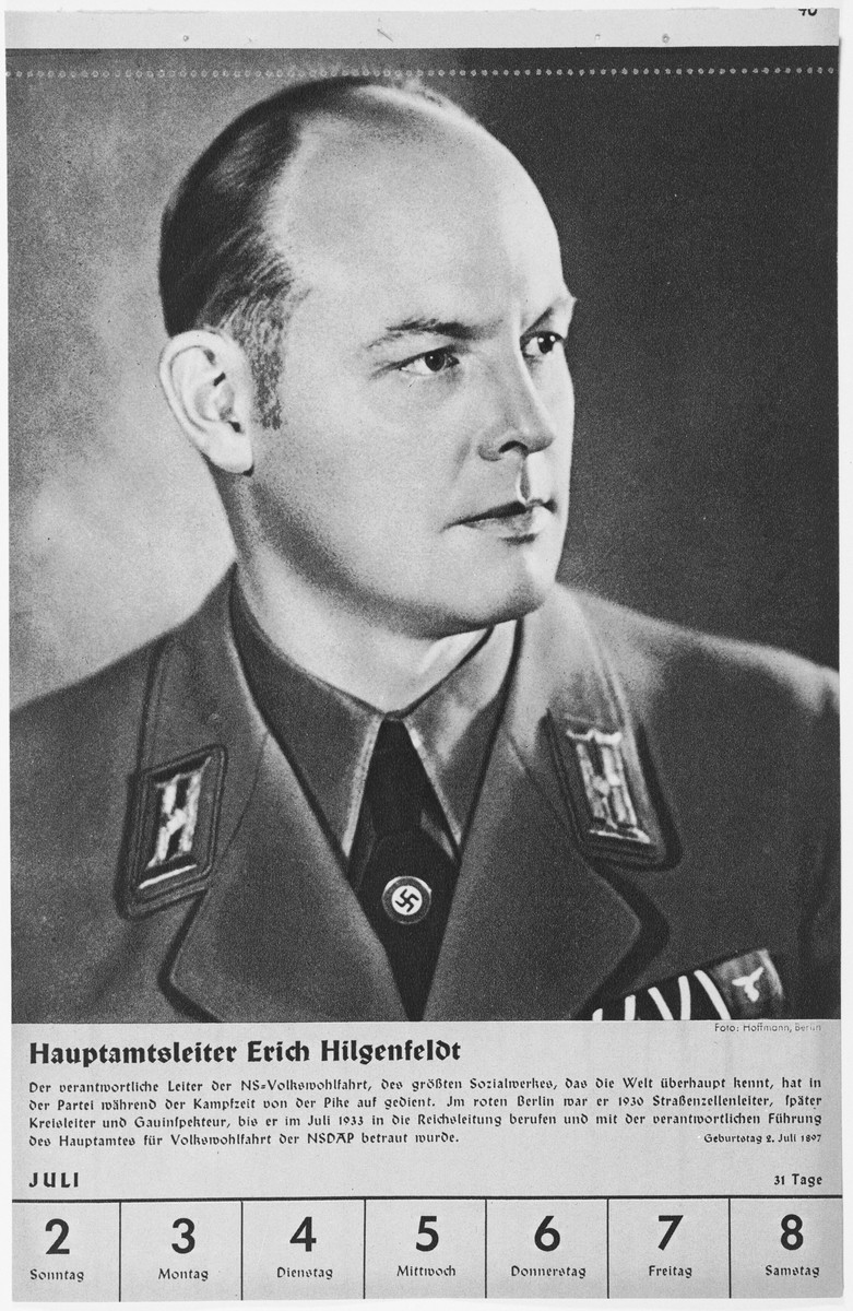 Portrait of Hauptamtsleiter Erich Hilgenfeldt.  One of a collection of portraits included in a 1939 calendar of Nazi officials.