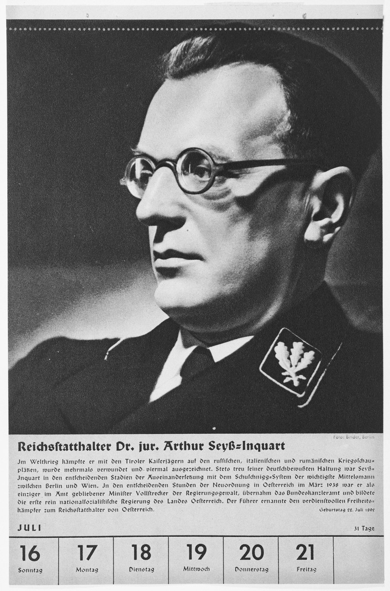 Portrait of Reichsstatthalter Arthur Seyss-Inquart.  One of a collection of portraits included in a 1939 calendar of Nazi officials.