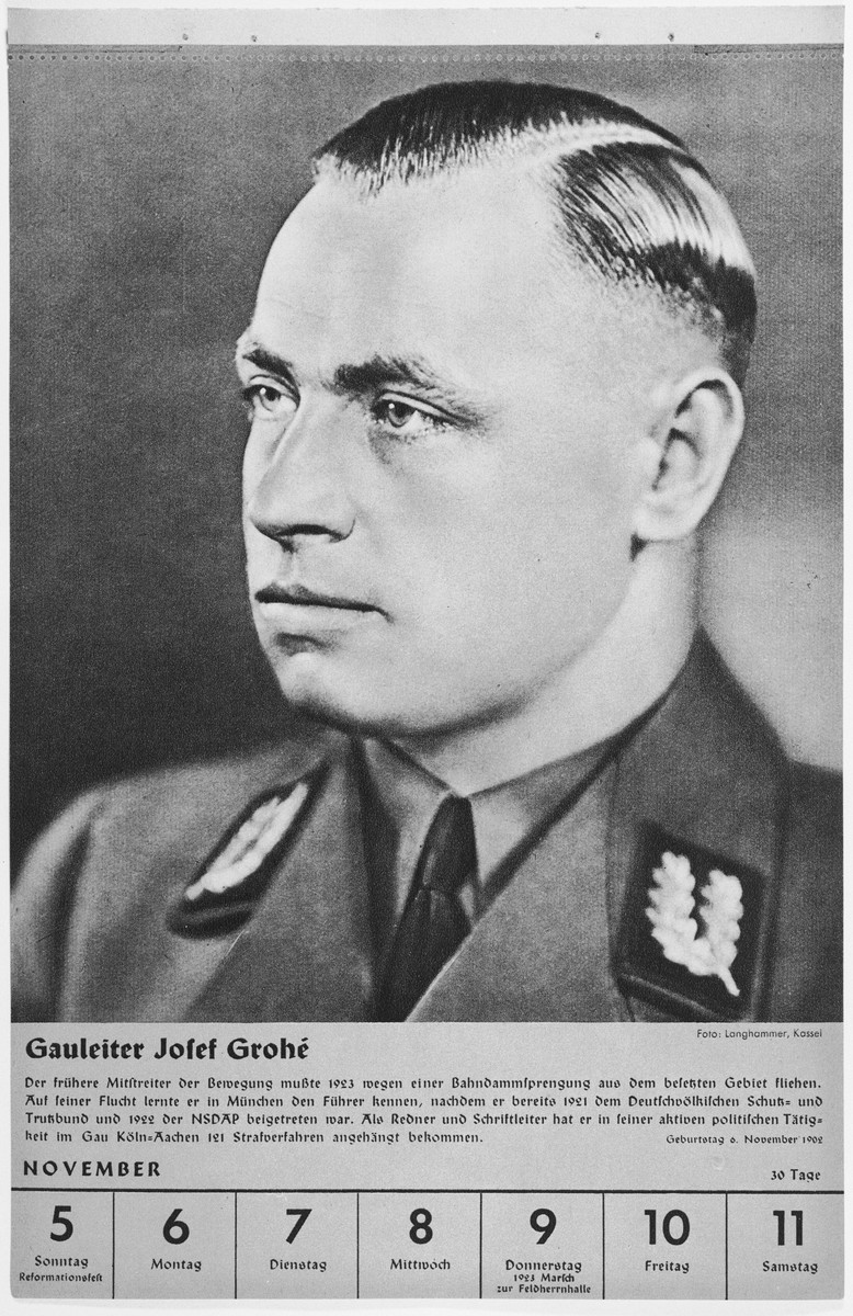 Portrait of Gauleiter Josef Grohe.  One of a collection of portraits included in a 1939 calendar of Nazi officials.