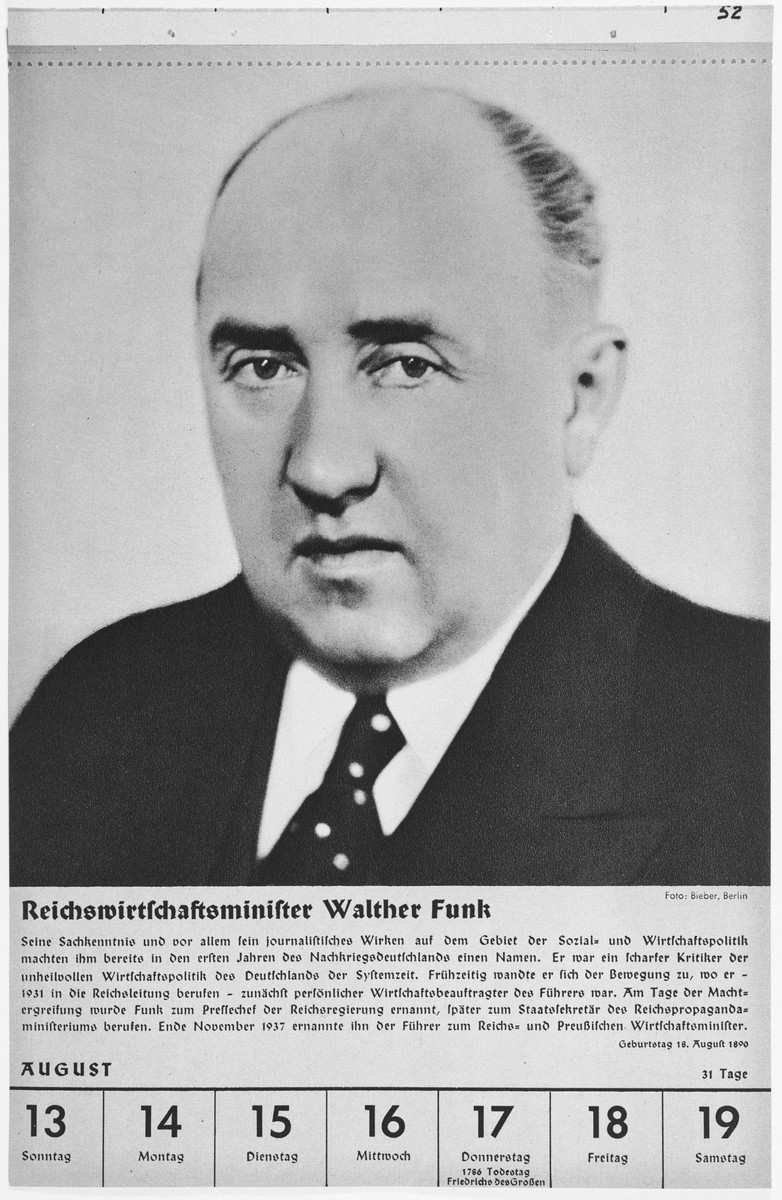 Portrait of Reichswirtschaftsminister Walther Funk.  One of a collection of portraits included in a 1939 calendar of Nazi officials.
