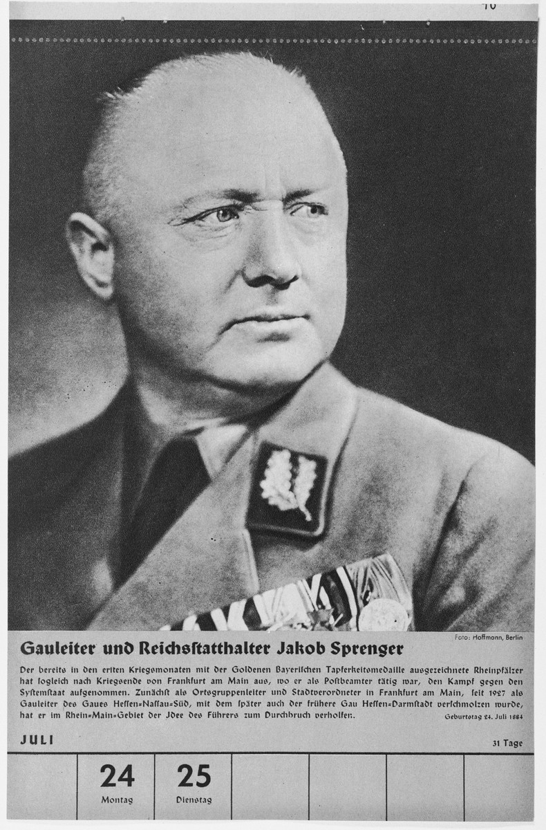 Portrait of Gauleiter und Reichsstatthalter Jakob Sprenger.  One of a collection of portraits included in a 1939 calendar of Nazi officials.