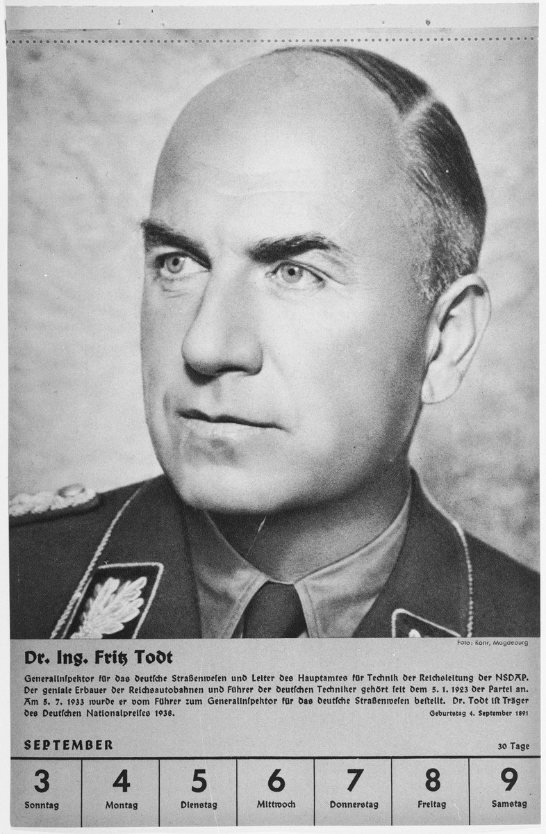 Portrait of Dr. Fritz Todt.  One of a collection of portraits included in a 1939 calendar of Nazi officials.