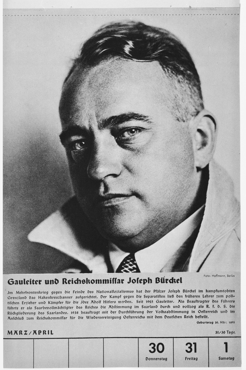 Portrait of Gauleiter and Reichskommissar Joseph Buerckel.  One of a collection of portraits included in a 1939 calendar of Nazi officials.